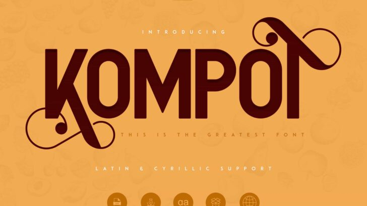 Kompot Sans is swirly, vintage typeface with 2 styles to enchant your next project. They are loaded alternate glyphs and multilingual support.