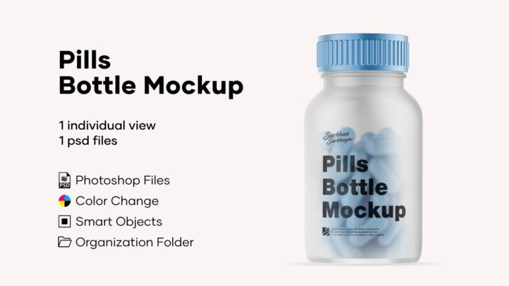 FREE Pills Bottle Mockup - A versatile bottle mockup like this one just can't do without the Smart Objects, facilitating any adjustments. The cap is available in metallic, matte, and glossy finishes. The label comes in matte and glossy variants too, so the end result can be always different. Design your product presentations, prepare corporate identity concepts or showcase your patterns, illustrations, logotypes — you're packed with suitable means for sure!