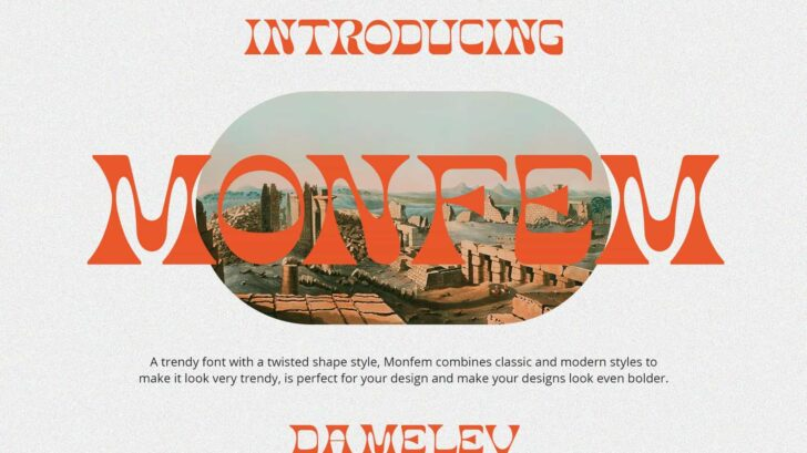 Monfem Stunning Display Fonts - A trendy typeface with a twisted shape style, Monfem combines classic and modern styles to make it look very trendy, is perfect for your design and make your designs look even bolder.