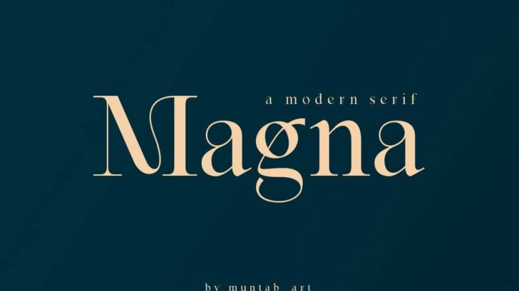 Magna - Modern Serif font - Magna fonts includes uppercase letters, numerals, a large range of punctuation. Serif font with modern style. Created for poster, web design, branding, illustrations, badges and some other works.