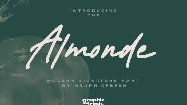 Almonde - Modern Signature Font - It comes with an elegant and modern style which is perfect to make any design stand out! This font is perfect for branding, wedding invites, magazines, mugs, business cards, quotes, posters, and more.