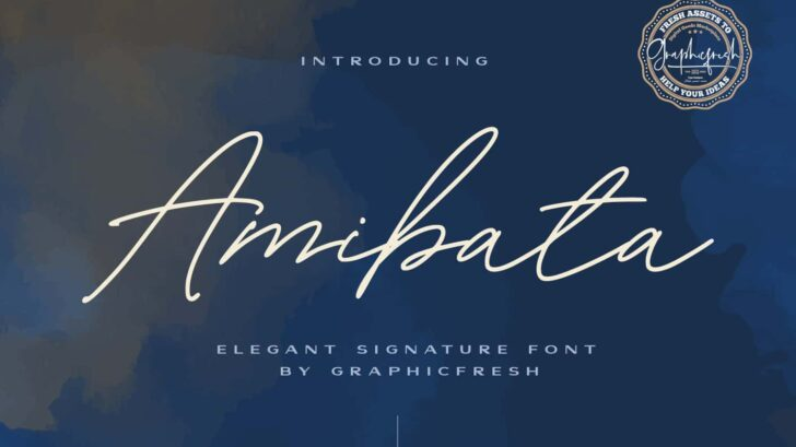 Amibata - Elegant Signature Font. It comes with an elegant and modern style which is perfect to make any design stand out! This font is perfect for branding, wedding invites, magazines, mugs, business cards, quotes, posters, and more.