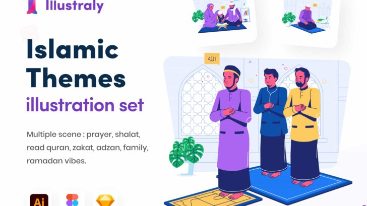 Illustraly - Islamic illustration set - is a High-Quality and Atomic Illustrations Library. Perfect match for Website and Mobile UI Application & Useful Scene Creator. This set will be very useful for Designers, Developers, Startups and Design Agencies to speed up the design process.