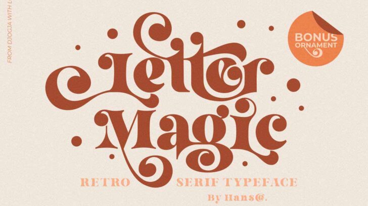 Letter Magic feels playfully nostalgic and delivers an incredible vintage aesthetic. Use this serif font to add that special retro touch to any design idea you can think of!