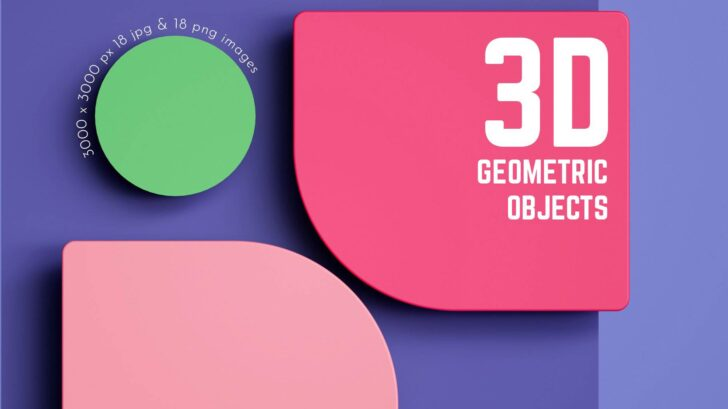 3D Geometric Objects Set - The set of 3D high resolution rendered objects in .PNG and .JPG file format. Great for your headers, posters, advertisements - any web or print projects.