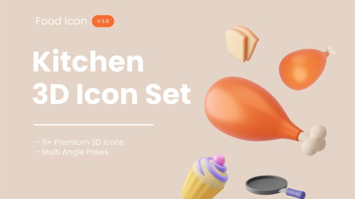 Multi-angle 3D icons for your food app. Can be used for your presentation. It's supports Blender, AdobeXD and you can convert the files to support Figma, Adobe illustrator and Photoshop.